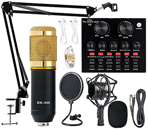 Podcast Equipment Bundle, BM-800 Mic Kit with Live Sound Card, Adjustable Mic Suspension Scissor Arm, Metal Shock Mount and Double-Layer Pop Filter for Studio Recording & Broadcasting (Gold)