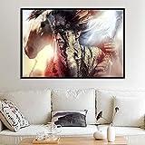 N / A Pintura sin Marco Vintage Indios y Caballos sobre Lienzo Jefe Animal Pluma Imagen Pared Arte decoración Pintura ZGQ7393 20x30 cm