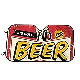 Cerveza Vintage Cartel de Chapa Visera Universal para Parabrisas de automóvil, Cortinas automáticas de protección Solar Parabrisas Delantero Visera Protector Solar Protector Solar Tamaño : S