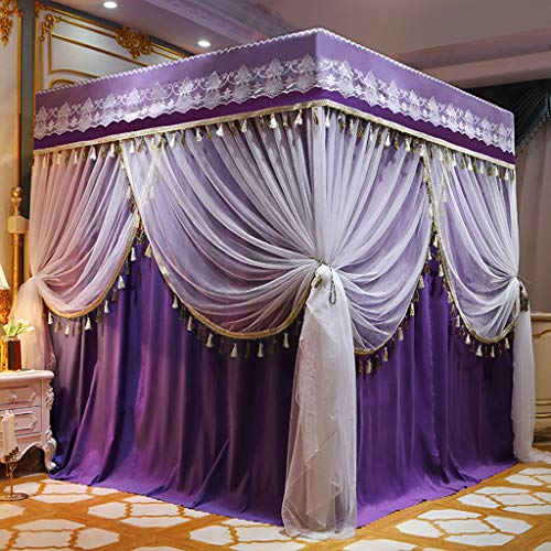 Obokidly 2-in-1 Double Protection Princess 4 Corner Bed Mosquito-Proof Mosquito Netting and Bed Curtains Privacy Protection for Boys Girls Kids Bedroom Decorate Canopies (Queen, Purple)