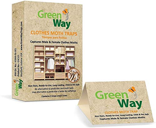 GreenWay Clothes Moth Traps (3 Pack)   Pheromone Attractant, Ready to Use   Heavy Duty Glue, Safe, Non-Toxic with No Insecticides or Odor, Eco Friendly, Kid and Pet Safe
