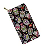 Frestree Large Capacity Long Wallet for Women Ladies Zipper Around Metal Sugar Skull Pattern Leather Wallet for Travel Accessories