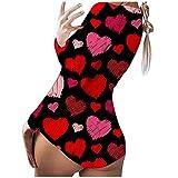 YANFANG Mono Pijama para Mujer Imprimen de Manga Larga con Estampado de corazón Ropa de Dormir Traje de baño el día de San Valentín Fiesta Pareja