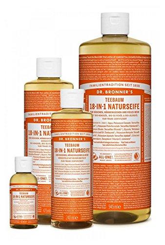 Jabón natural de aceite de árbol de té, 18 en 1, de Dr Bronner, jabón mágico, natural, líquido, ecológico, vegano, sin aditivos, con certificado de comercio justo