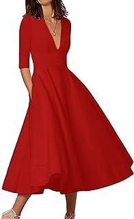 960adff3578 OMZIN Femme Robe de Cocktail Col V Vintage Robe de Soirée Robe Midi