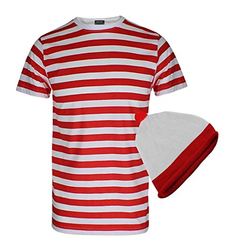 RIDDLED WITH STYLE Mens Red and White Stripe Hen Party T Shirt Hat Fancy Dress Outfit#(Red and White Stripe Tshirt Hat#X.Large#Mens)