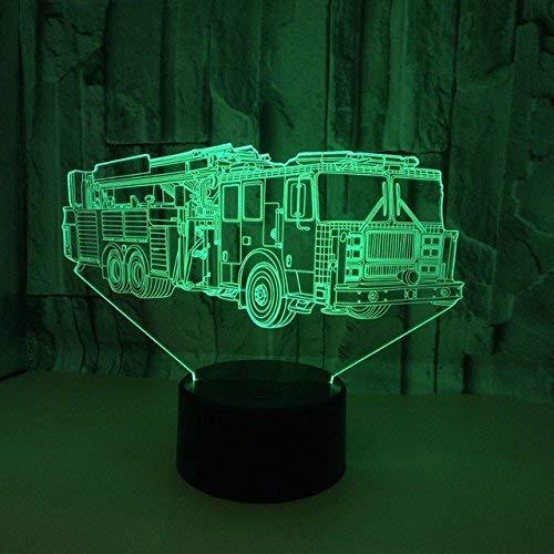ZBHW 3D Pompier Voiture Nuit Lumière 7 Couleurs Humeur Lumière Tactile Interrupteur USB Table Bureau LED Lumière De Noël Présenter Enfants Maison Fête Anniversaire Cadeau De Noël