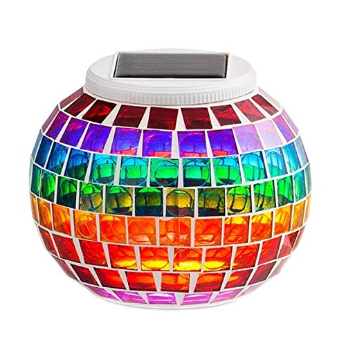 KEEDA Mosaik Solar Lampen Garten Lampen, RGB Farbwechsel LED Solarleuchten Tischleuchte Nachtlicht Garten-Licht für Party, Terrasse, Außen Dekoration Beleuchtung (Regenbogen)