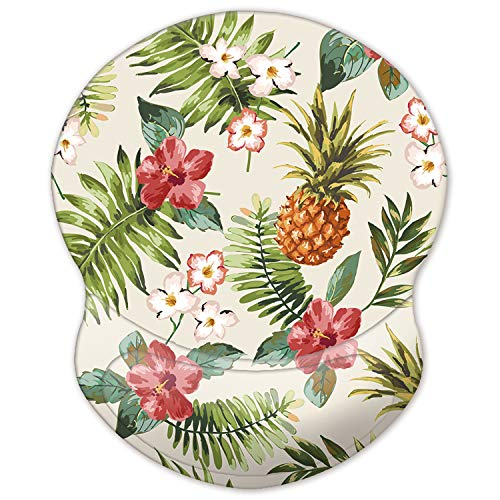 ITNRSIIET Mouse Pad, Ergonomic Mouse Pad with Gel Wrist Rest Support, Gaming Mouse Pad with Lycra Cloth, Non-Slip PU Base for Computer, Laptop, Home, Office & Travel Flower and Pineapple