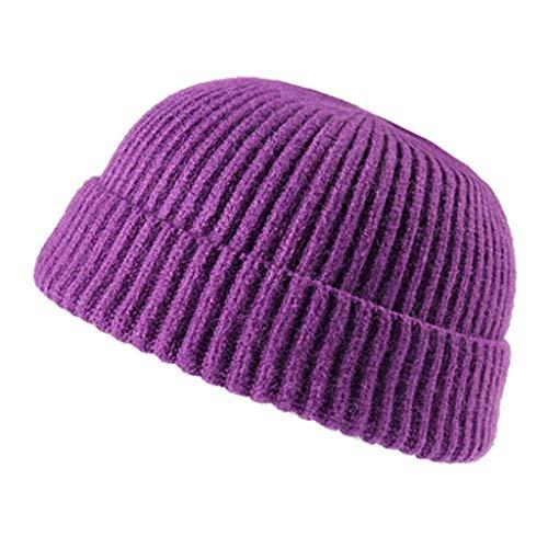 SHYPT Männer Und Frauen Herbst Und Winter Gestrickte Mützen Laufen, Wilder Plüsch Hüte, Unisex, Geeignet for Reisen (Color : Purple)