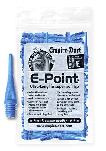 Empire Dart Softdartspitzen, E-Point, 2BA, kurz, blau, 100 Stück, 20687