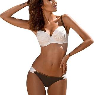 Women Padded Push-up Bra Bikini Set ❀ Ladies Two Piece Swimwear Solid Swimsuit Bathing Suit Beachwear