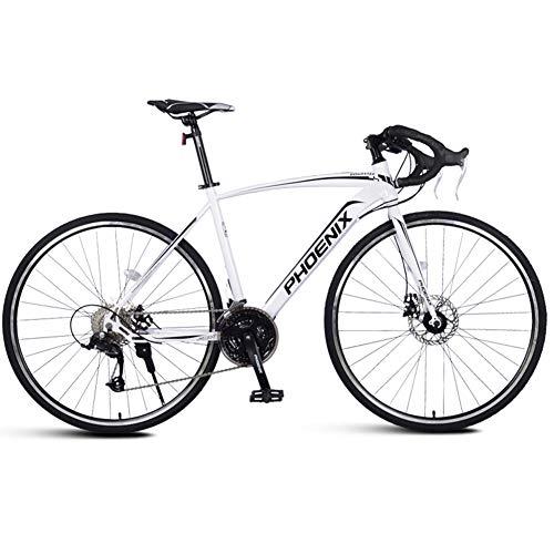 NENGGE Adulto Bicicleta de Carretera, Hombre Freno de Disco Mecánico Bicicleta, Marco De Acero De Alto Carbono, Bicicleta de Carreras,Blanco,27 Speed