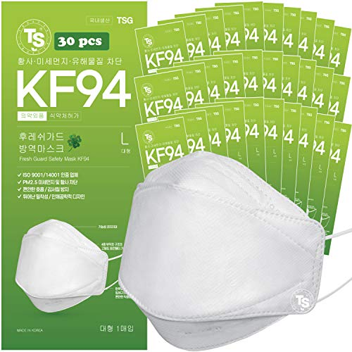 【 30 Pack 】 KF94 Certified, TS Fresh Guard Face Mask ; 4-Layered Protection, Tri-Folding Style, 3D-Ergonomic Design, Individually Single Packs, White Color, Made in Korea.
