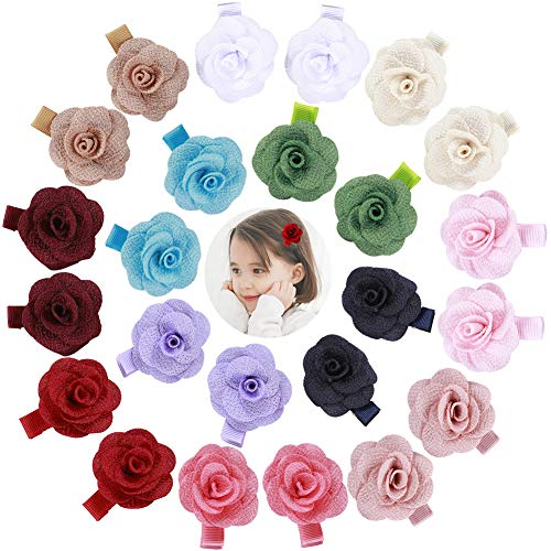 inSowni 24pcs Alligator Hair Clips Barrettes Accessories Rose Flower for Baby Girl Toddlers (12 Pairs S6)