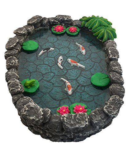 GlitZGlam KOI Miniature Pond - Koi Pond for a Fairy Garden. A Miniature Pond for a Miniature Fairy Garden and Enchanted Garden Accessories