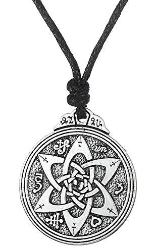 Dawapara Pendentif talisman vintage pour écrivains poètes, sceau de Salomon - Bijou hermétique Kabbale pour femme et homme