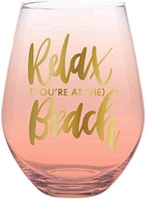 Creative Brands Slant Collections Stemless Wine Glass, 30-Ounce, Relax Beach