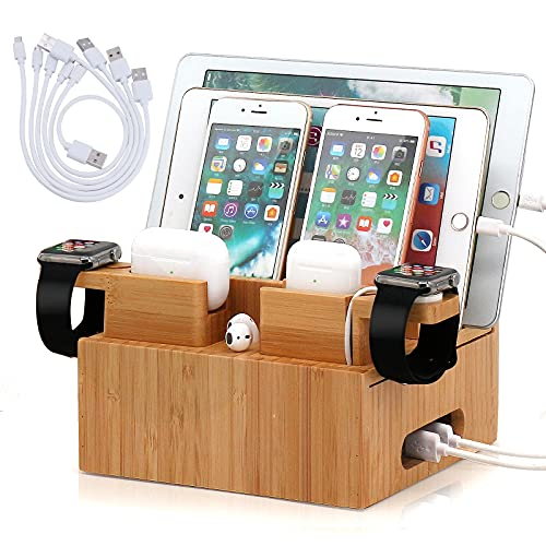 Bamboo Charging Station Organizer for Multiple Devices, Desktop...
