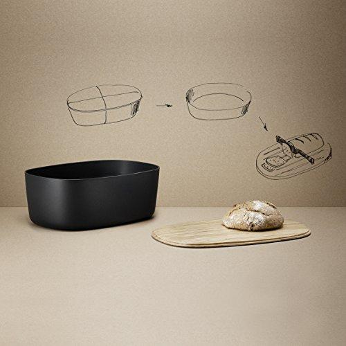 Stelton Rig-TIG by Z00038 Box-It Brotkasten, Melamin, Bambus, schwarz, 34,5 x 23,5 x 13,0 cm