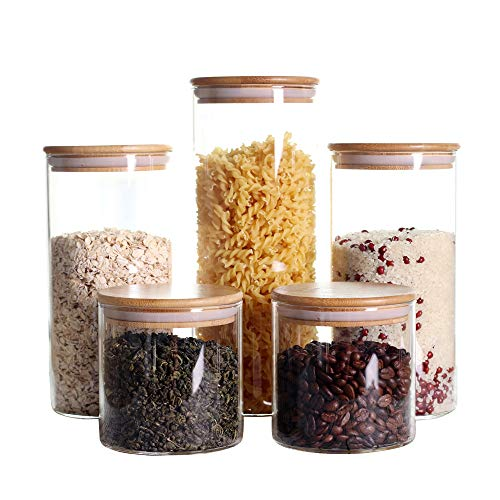 Stackable Kitchen Canisters Set Pack of 5 Clear Glass Food Storage Jars Containers with Airtight Bamboo Lid for Candy Cookie Rice Sugar Flour Pasta Nuts