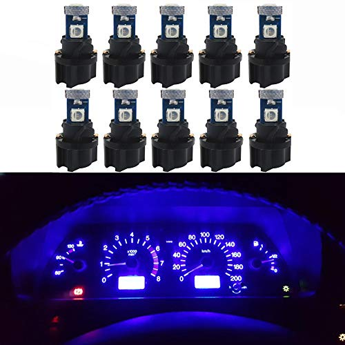 WLJH 10 Pack Blue Canbus T5 Led Bulb 2721 37 74 Wedge Lamp PC74 Twist Sockets Dash Dashboard Lights Instrument Panel Cluster Leds Replacement