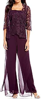 Howely Womens Cardigan 2-Piece Floral Lace Wide Leg Layered Jumpsuits Rompers