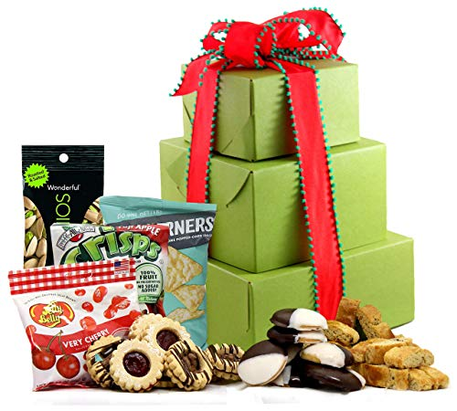 Holiday Delight Gluten Free Gift Tower - Deluxe Holiday Gift Tower with Gourmet Biscotti, Cookies, Popcorn, Sweets, Fruit & Nuts [Large] Prime Holiday Gift Basket by Gluten Free Palace