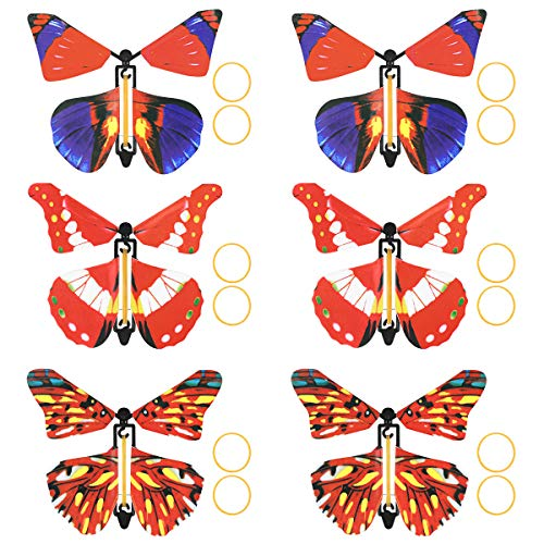 Powered Wind Up Butterfly Toy Magic Butterfly Flying in The Book Fairy Rubber Band 12pcs (colore casuale)