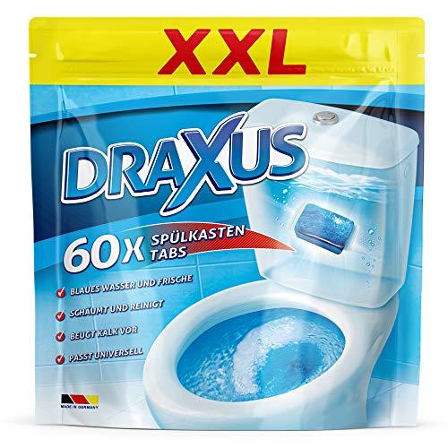 DRAXUS 60x Spülkasten Tabs I Wasserkastenwürfel für den Spülkasten im XXL Pack I Färbt das Wasser blau I Sorgt für extra Frische und hält die Toilette sauber