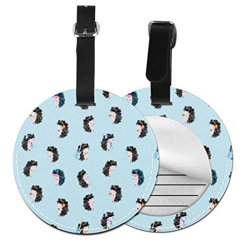 Fun Music Little Hedgehog - Juego de etiquetas para maleta de piel, accesorios de viaje, etiquetas redondas para equipaje Negro Negro 2 PC