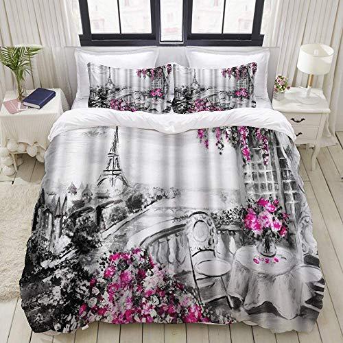 Funda nórdica, romántico París, ciudad europea, paisaje, Francia, Torre Eiffel, negro, blanco y violeta, flores de arte moderno, juego de cama, juegos de microfibra de lujo, cómodos y livianos