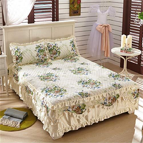 Baumwolle Bett Rock, Spitze Bett Volant Tagesdecke Mit rüschen Gesteppter Faltenresistent und ausbleichen beständig Hotel qualität-E 180x200cm/71x79inch