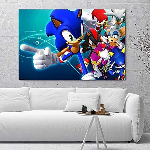 UHvEZ 500 Stück Puzzles für Erwachsene Sonic Hedgehog-Spiel Pädagogisches Spielzeug helle Farben Geburtstagsgeschenke Hauptdekoration 52x38cm