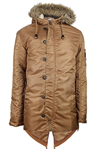 Soulstar Herren Parka Jacke schwarz schwarz Medium Gr. Größe-L-102 cm- 107 cm Brust, Camel - Brown