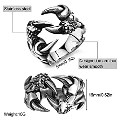EQLEF Dragon Claw Ring Set, Gothic Ring Adjustable Wild Alondra Open Punk Ring Gift Cool Dragon Ring for Men Women (C) #4
