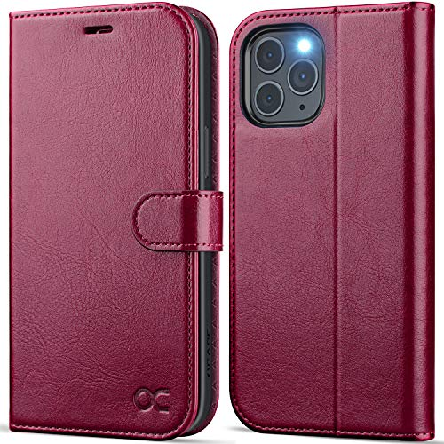 OCASE Compatible with iPhone 12 Pro Max Wallet Case, PU Leather Flip Folio Case with Card Holders RFID Blocking Kickstand [Shockproof TPU Inner Shell] Phone Cover 6.7 Inch (Burgundy)