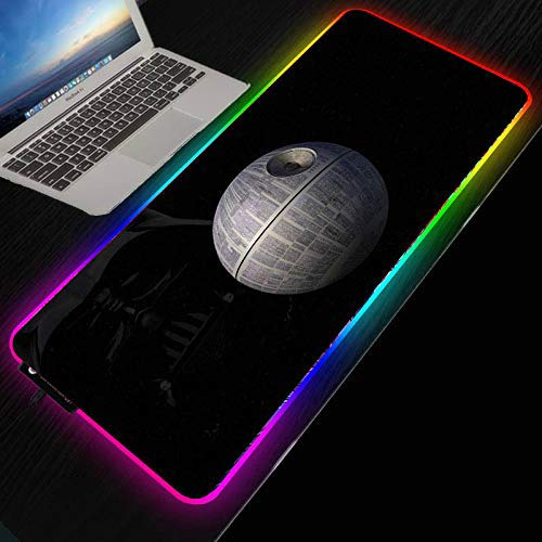 Star Wars Darth Vader Space DIY Alfombrilla de ratón RGB LED Alfombrilla grande para juegos Alfombrilla de escritorio para computadora Deslizamiento de goma para jugadores Velocidad-RGB 300X800X4MM