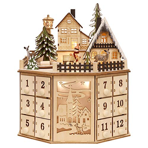 WBHome Christmas Advent Calendar, Traditional Wooden Countdown Calendar Castle with Rotating Animated Christmas Tree, Snowy Village Castle, 24 Drawers and Led Lights for Holiday Decoration