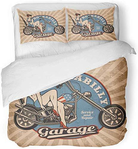 Juego de funda nórdica de decoración Pin Up Girl en motocicleta Monocromo Blanco vintage Todo el texto es el conjunto de ropa de cama de impresión de tela de microfibra cepillada separada de 3 piezas