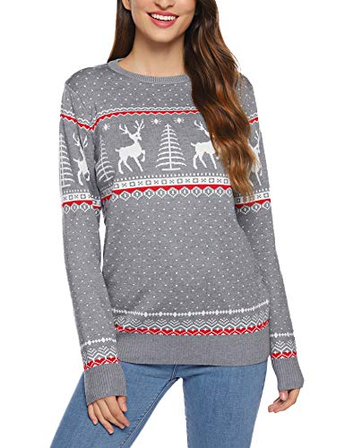Aibrou Weihnachten Pullover Damen Weihnachtspullover Rentiermuster Christmas Reindeer Strickpullover Christmas Sweater, Grau XL