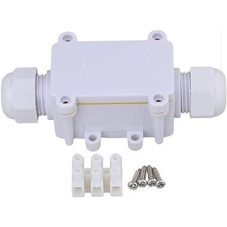 /étanche IP68 2 voies Bo/îte de jonction connecteur en plastique r/ésistant aux intemp/éries avec 3 ensembles de joints