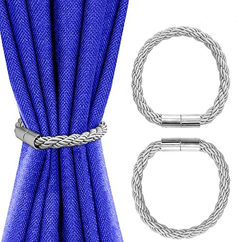 Tiebacks de Cortina magnética, Clips de Cortina Soportes de Cuerda Soportes Hebillas para decoración de oficinas en el hogar Tratamiento de Ventanas, 2 Piezas (Plata)