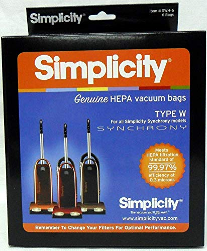 Simplicity Type W Synchrony HEPA Vacuum Cleaner Bags 6 Pack