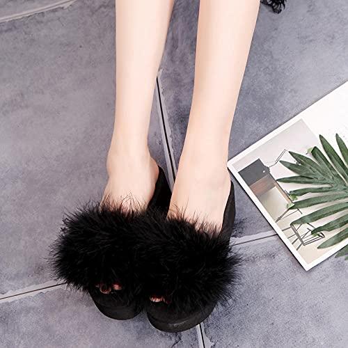 Zuecos Mujer,Las Nuevas Zapatillas De Piel Gruesa De Peluche De Moda, Pendiente De Fondo Plano De Verano para Mujer con Flip-Flops, Desgaste Zapatillas De Playa De JardíN De Todos Los Partidos Afuera