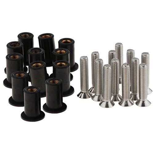 12 Stück Gummimutter mit Innengewinde und Schrauben Set Kajak Motorrad Auto (M4, M5, M6) - M6
