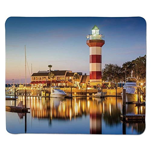 Yanteng Estados Unidos, Hilton Head, Carolina del Sur, Faro, crepúsculo, Agua, reflexión, Barcos Idílico, Borde Cosido, Antideslizante, Goma