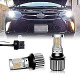 Miniclue 2pcs No Hyper Flash 21W 7440 LED Canbus W21W T20 LED Switchback White Amber LED Bulbs for Daytime Running Turn Signal Lights