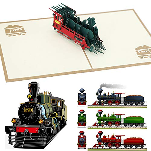 3D Karte, FANDE 3D Geburtstagskarte mit Dampflok, Pop Up Karte'Eisenbahn - Lokomotive', Bahn Geschenkidee, Karte zum Geburtstag, Hochzeitskarte, Bahnreise