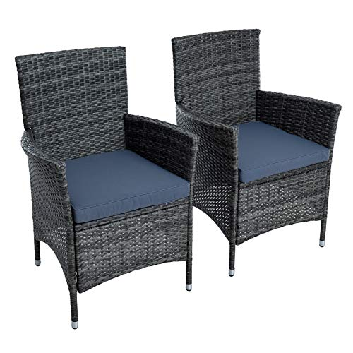 ESTEXO Polyrattan Gartenstuhl Set 2er Stuhlset Rattan Stuhl Garten Sessel Rattanstühle Balkonstühle Terrassenstühle Outdoor Stühle Balkonsessel (Anthrazit-Grau)